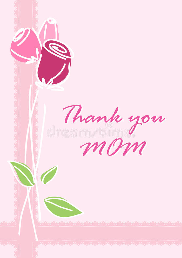 Thank you Mom greeting card. royalty free illustration