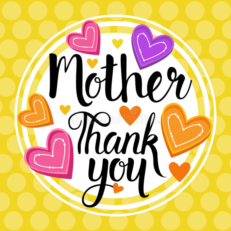 Thank You Mom, Happy Mother Day, Spring Holiday Greeting Card Banner stock illustration