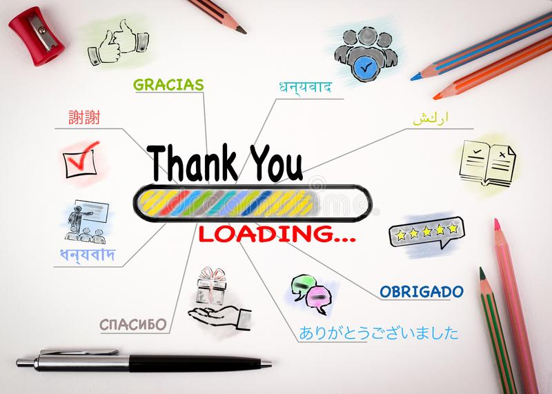 Thank You in Most Spoken Languages In The World. Chart with keywords and icons on white background stock photo