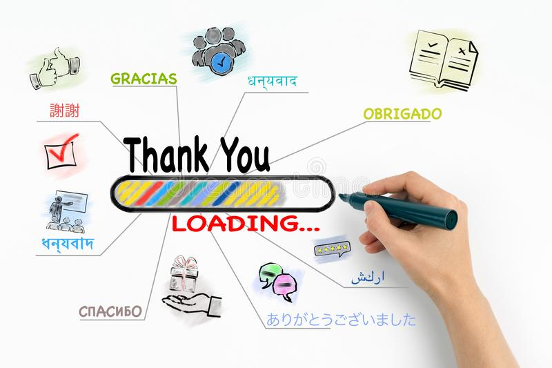 Thank You in Most Spoken Languages In The World. Chart with keywords and icons on white background stock image