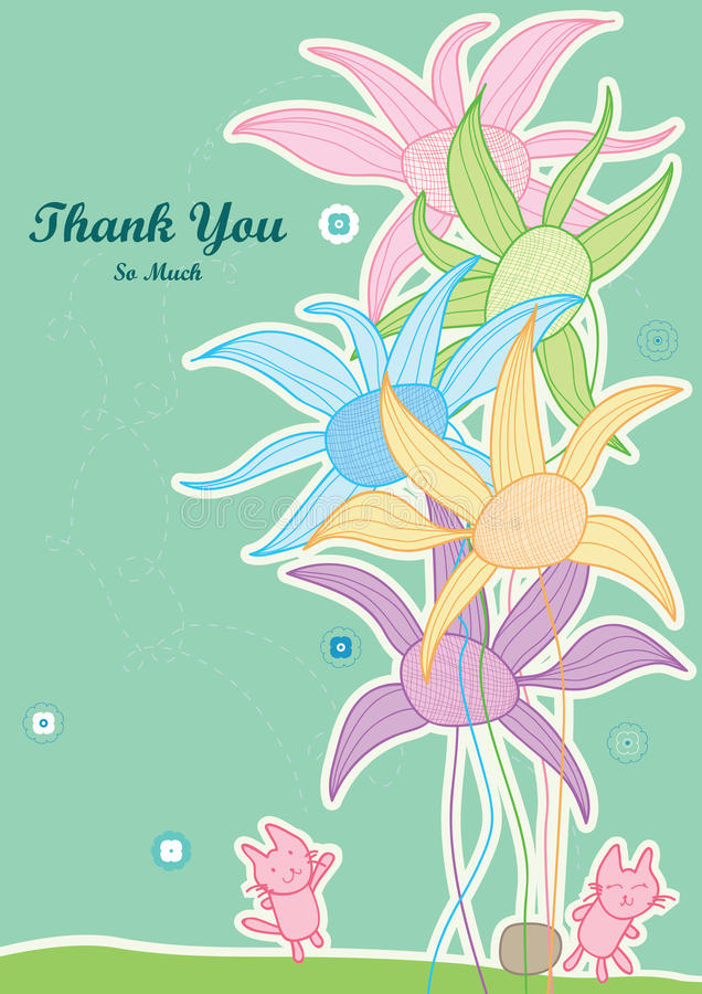 Thank You So Much Help Cat Touch Flower_eps. Thank you card, illustration of want help cat touch flower. --- This .eps file info Document: A4 Paper Size Document stock illustration