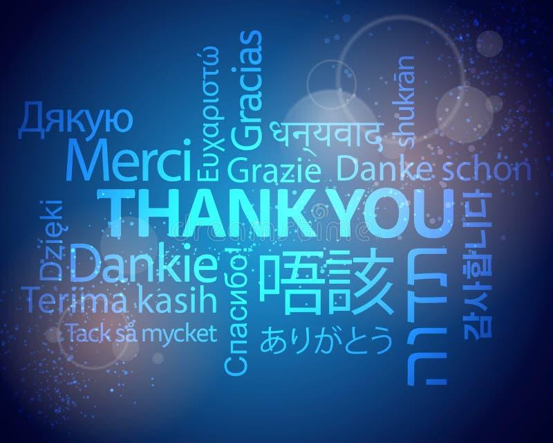 Thank you multilingual background vector illustration