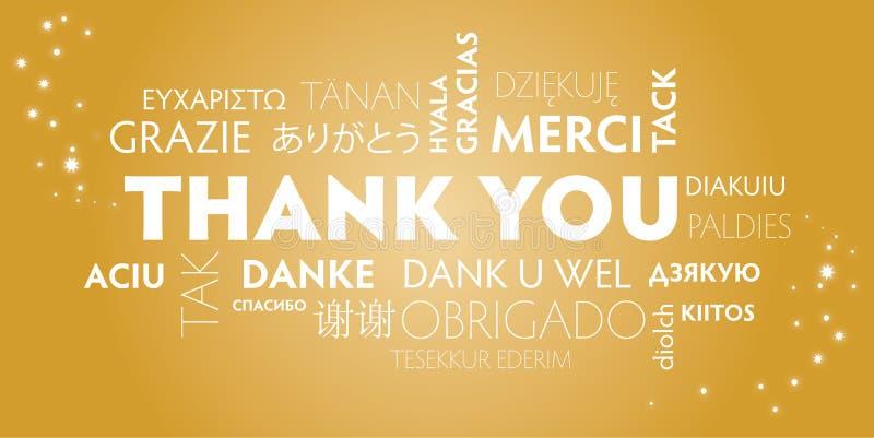 Thank you multilingual, gold stock illustration