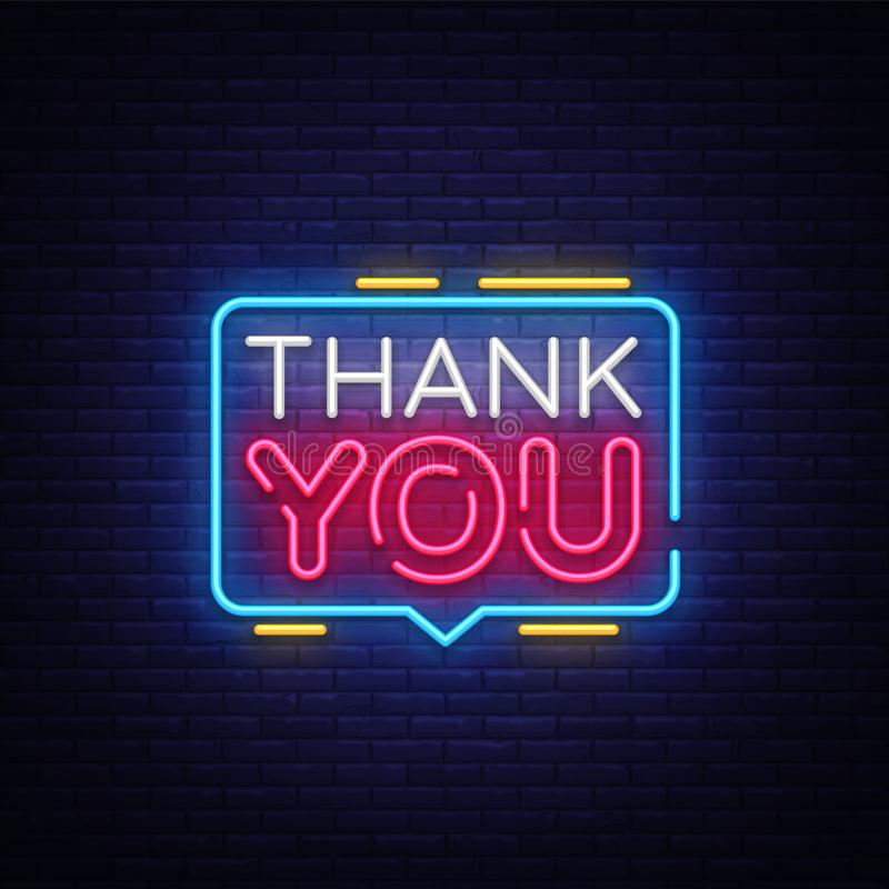 Thank You Neon Text Vector. Thank You neon sign, design template, modern trend design, night neon signboard, night. Bright advertising, light banner, light art vector illustration