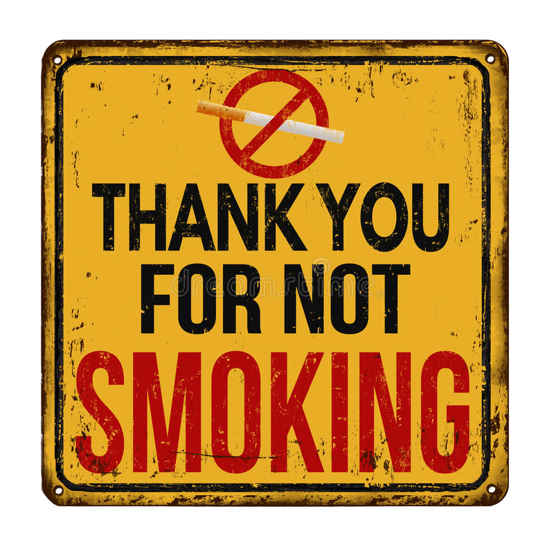 Thank you for not smoking vintage metal sign vector illustration