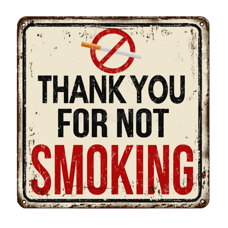 Thank you for not smoking vintage metal sign royalty free illustration