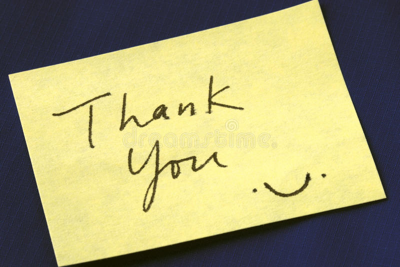 A Thank You Note Stock Image