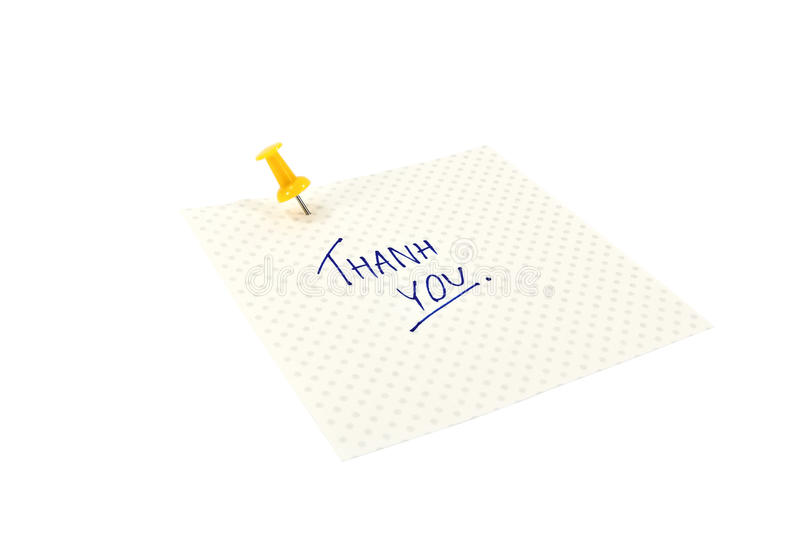 Thank you note. A Thank you post note pinned on white background royalty free stock images