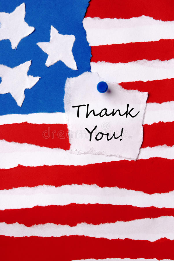 Thank You Note on American Paper Flag royalty free stock photo