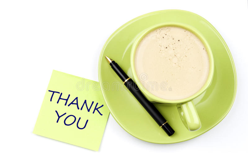 Thank You Note And Coffee Royalty Free Stock Photos