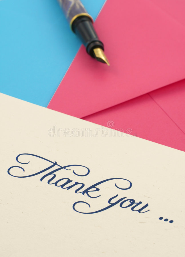 Thank you note and envelopes stock photo