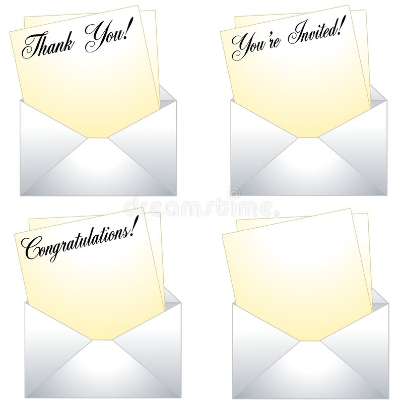 Download Thank You Notes With Envelopes Stock Illustration - Illustration of backgroun, illustration: 4824724