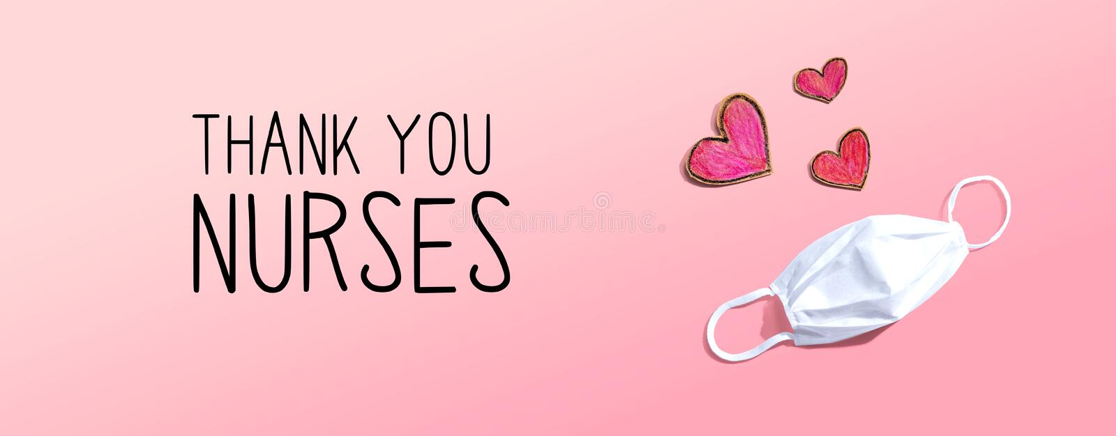 Thank You Nurses message with face mask and heart drawings. Thank You Nurses message with a face mask and heart drawings stock image