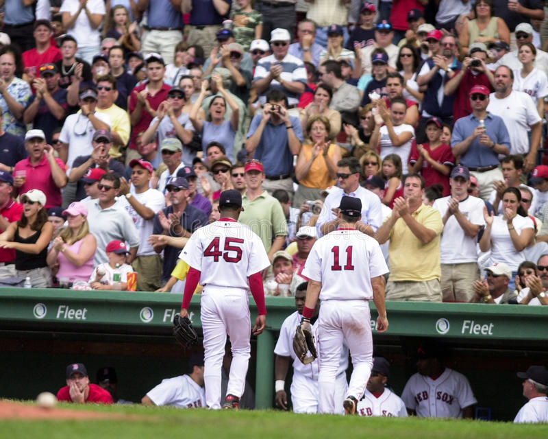 Thank You, Pedro. Red Sox fans show their appreciation for ace Pedro Martines, by giving him a standing ovation as he leaves the mound. (Image taken from color royalty free stock photo