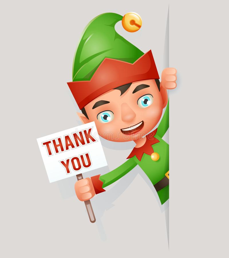 Thank you poster look out corner boy cute elf christmas santa claus helper cartoon character vector illustration. Thank you poster look out corner boy elf cute stock illustration