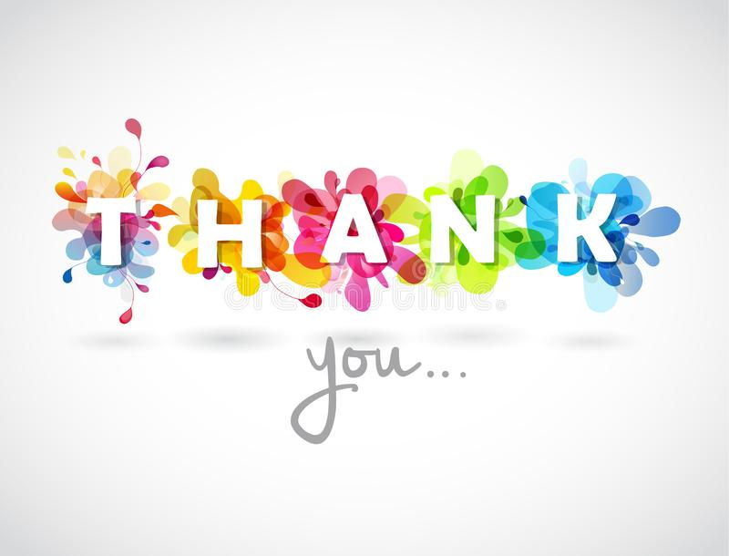 Thank you quotation with colorful abstract backgrounds royalty free illustration