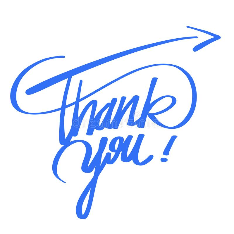 Thank you quote hand lettering royalty free illustration