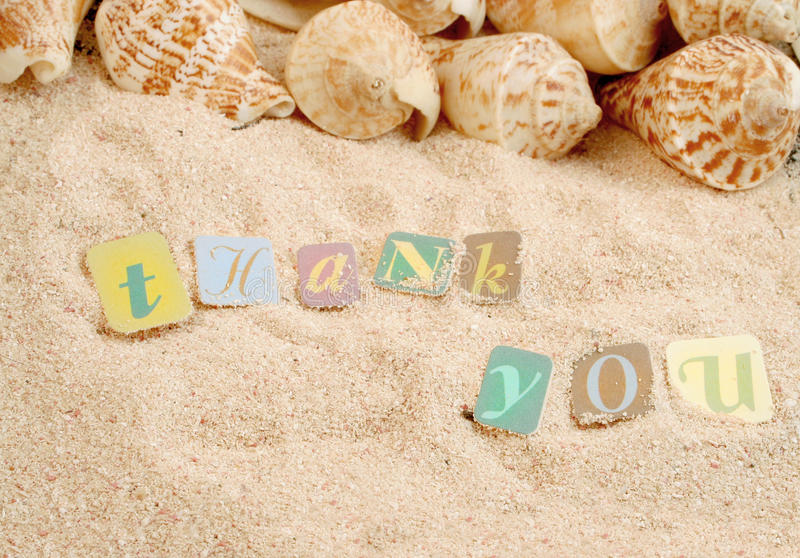 Thank you on sand. With shells in the background, great for postcard or greeting royalty free stock image
