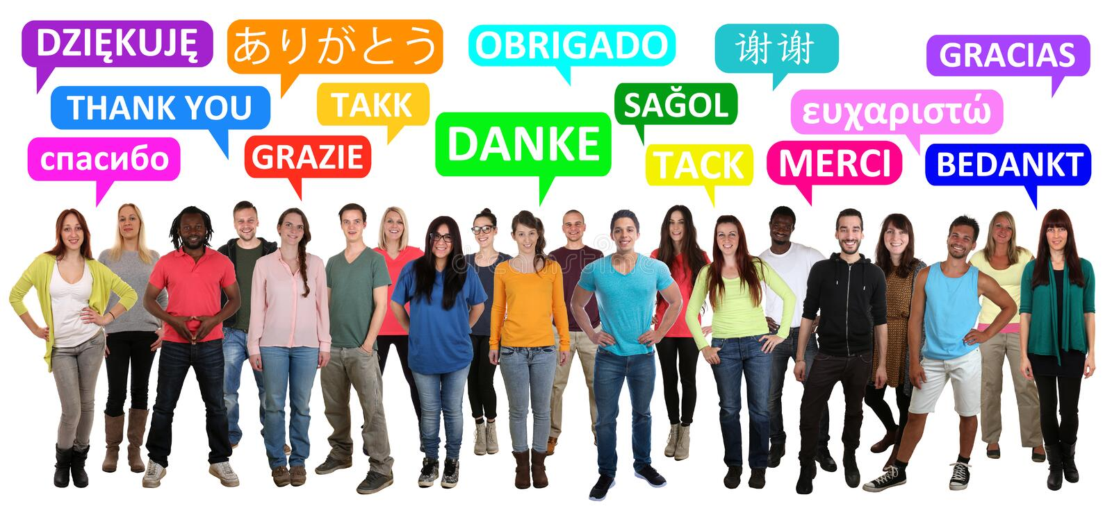 Thank you saying multi ethnic group of young people stock photo