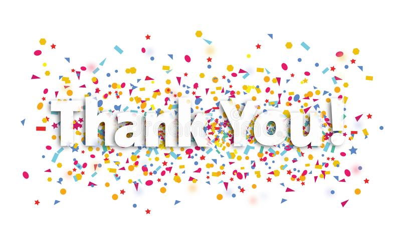 Thank you sign , text and confetti - thank you royalty free illustration
