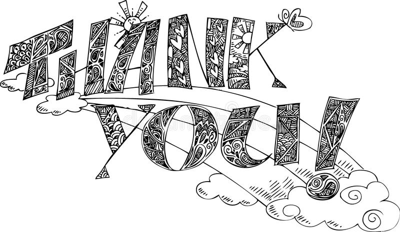 THANK YOU Coloring sketchy doodles vector royalty free stock photography