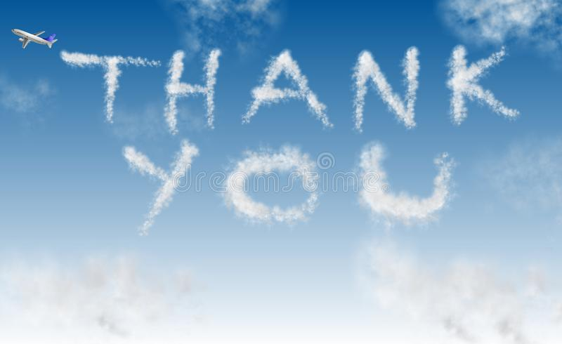 Thank you on sky. An airplane writing words thank you on the sky royalty free illustration