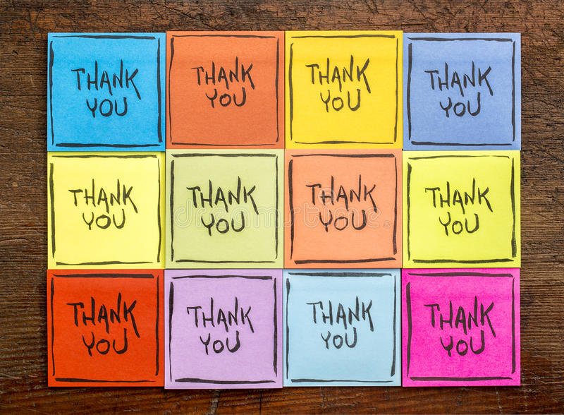 Thank you sticky note abstract stock photography