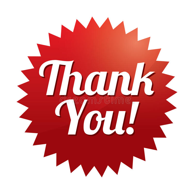 Thank you tag (vector). Red sticker. Icon for web. royalty free illustration