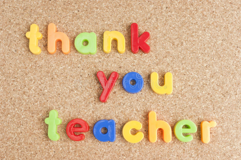 Thank you teacher message on board royalty free stock images