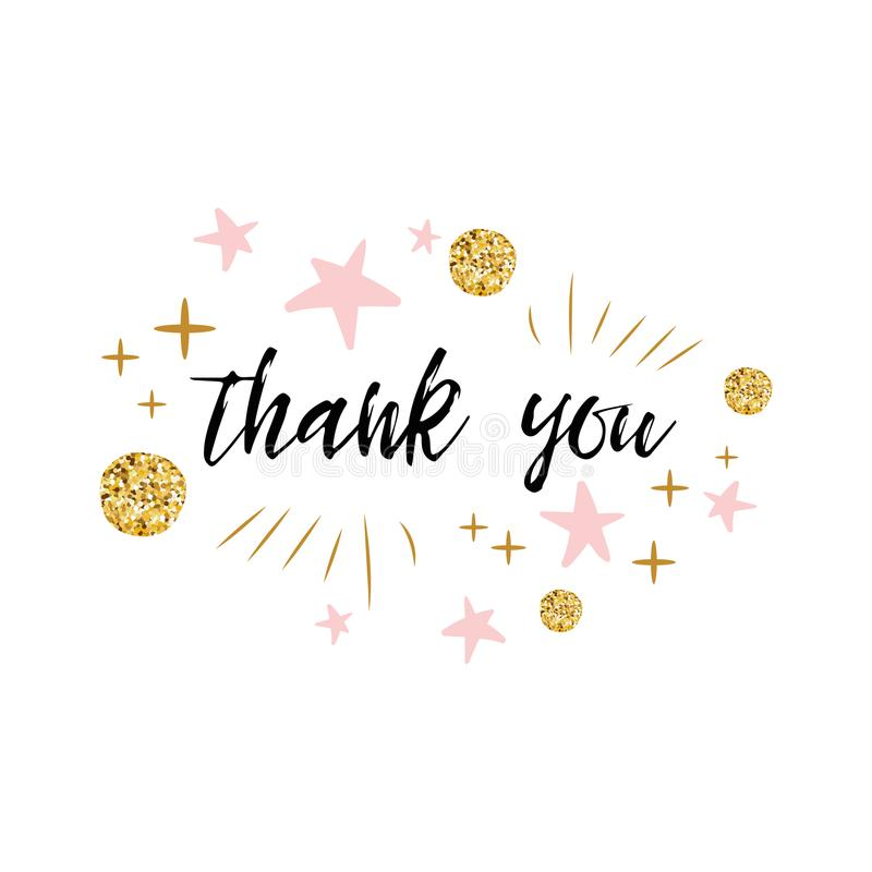 Vector phrase Thank you decorated gold polka dot and pink star for girl baby shower card template vector illustration