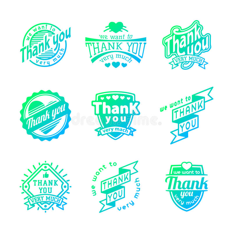 Download Thank You Text Lettering Vector Logo Badge Stock Vector - Image: 83720503
