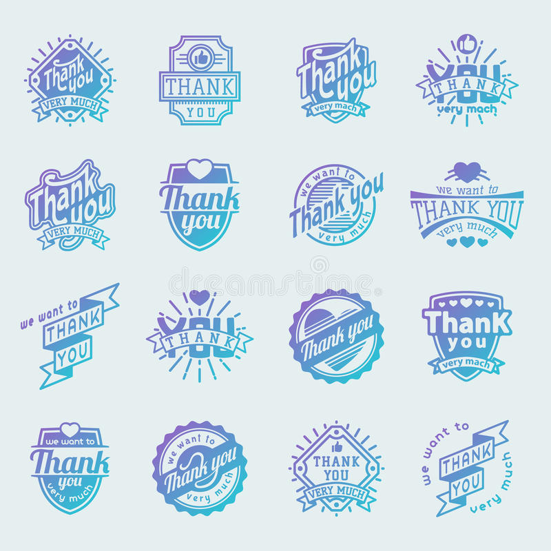 Thank you text lettering vector logo badge royalty free illustration