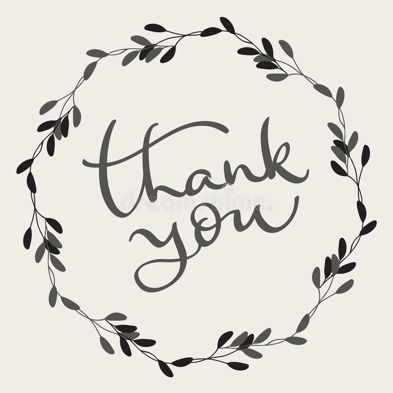 Thank you text with round frame on background. Calligraphy lettering Vector illustration EPS10 vector illustration