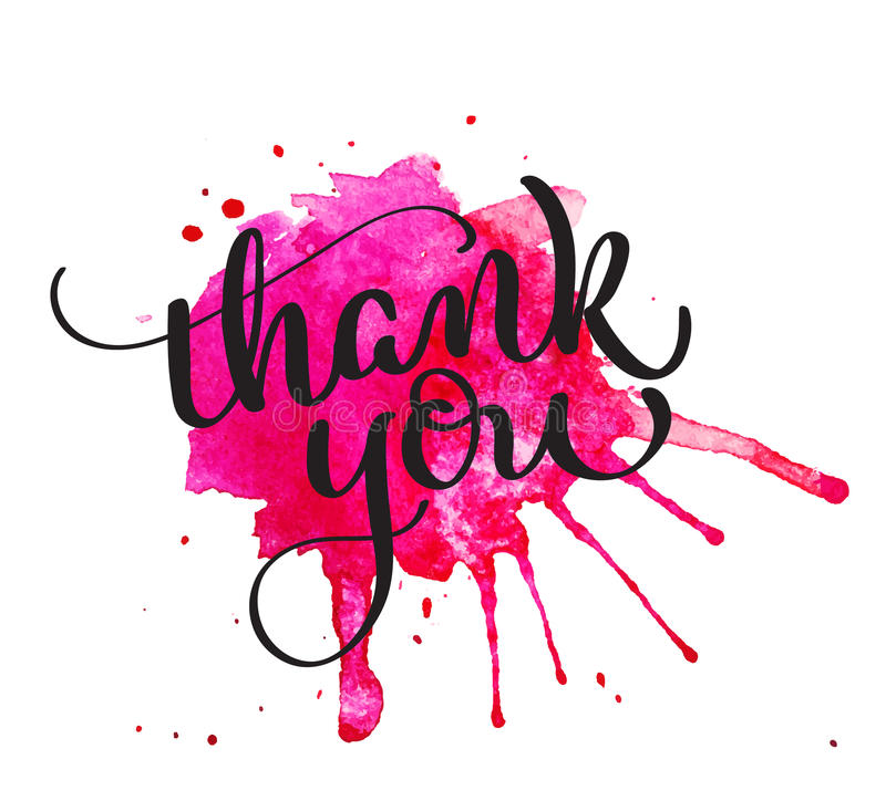 Thank you text on watercolor red blot. Hand drawn Calligraphy lettering Vector illustration EPS10 vector illustration
