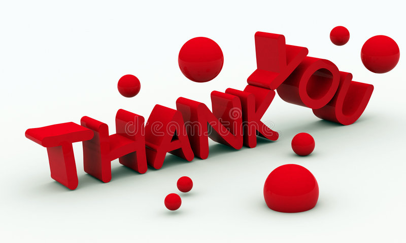 Thank you text on white background stock illustration