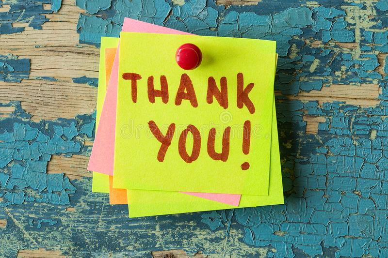 Thank You text written on sticky note stock photo