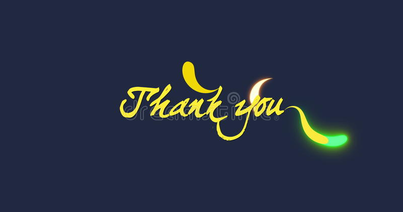 Thank you. Title motion animation with strokes and sparks on blue background vector illustration