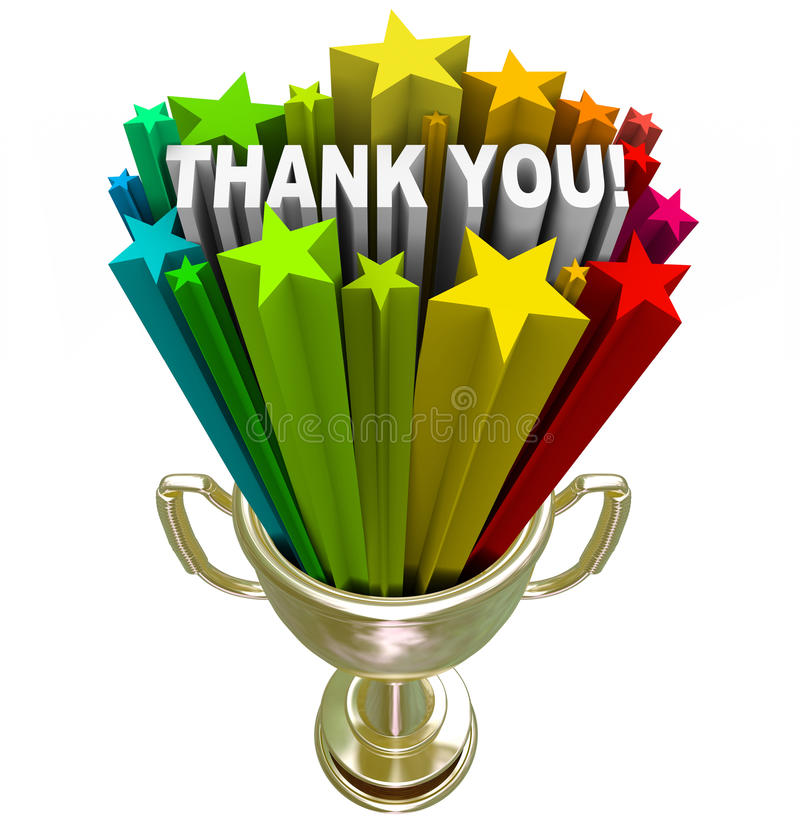 Thank You Trophy Recognition Appreciation of Job Efforts. A golden trophy with stars and the words Thank You shooting out of it in recognition and appreciation stock illustration
