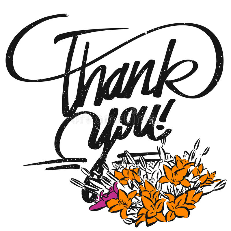 Thank you Typo and Bunch of Flowers stock illustration