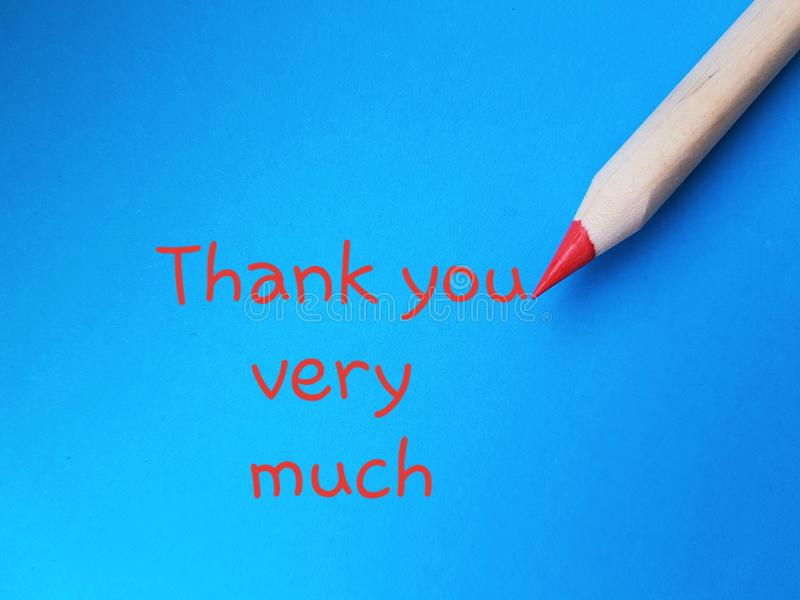Thank you very much. Being grateful. Words written over blue background. royalty free stock photography