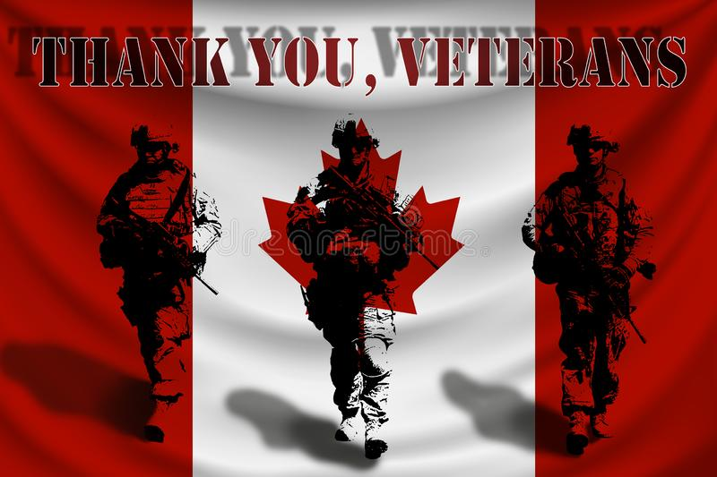 THANK YOU VETERANS against the background of the Canadian flag with soldiers stock illustration