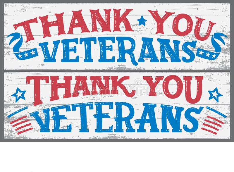 Thank you veterans wood signs royalty free illustration