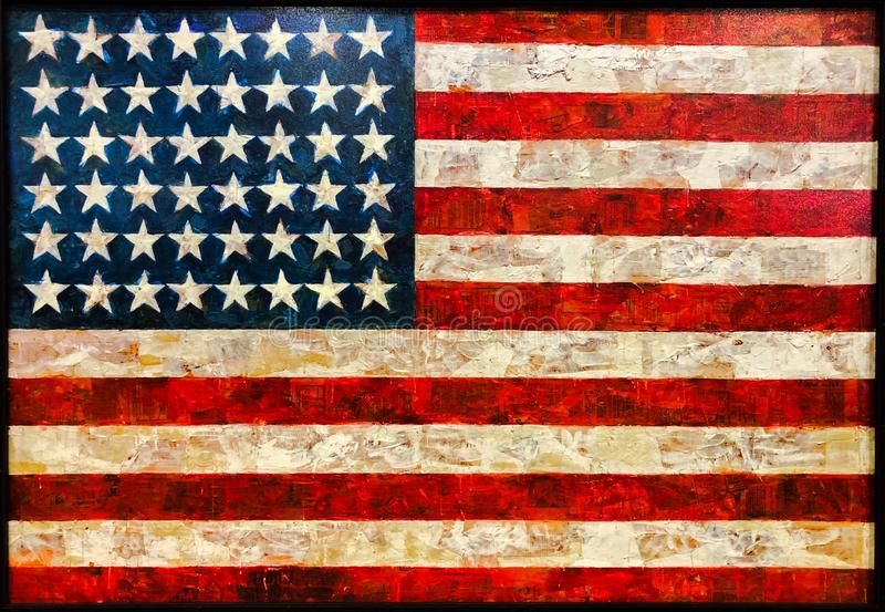 Painting of vintage American flag. Great for patriotic celebrations and events.n royalty free illustration