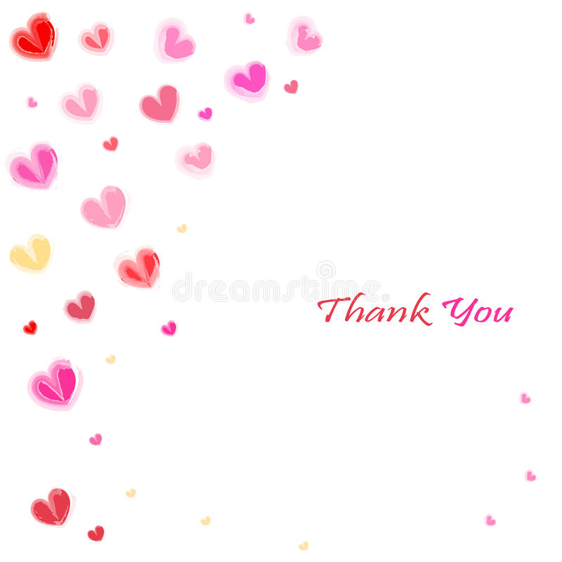 Thank you water color hearts greeting card vector stock illustration
