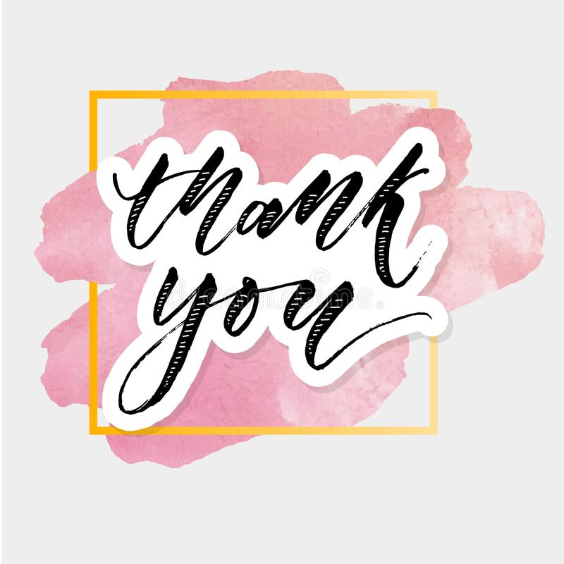 Thank you Watercolor Lettering Calligraphy Vector royalty free illustration