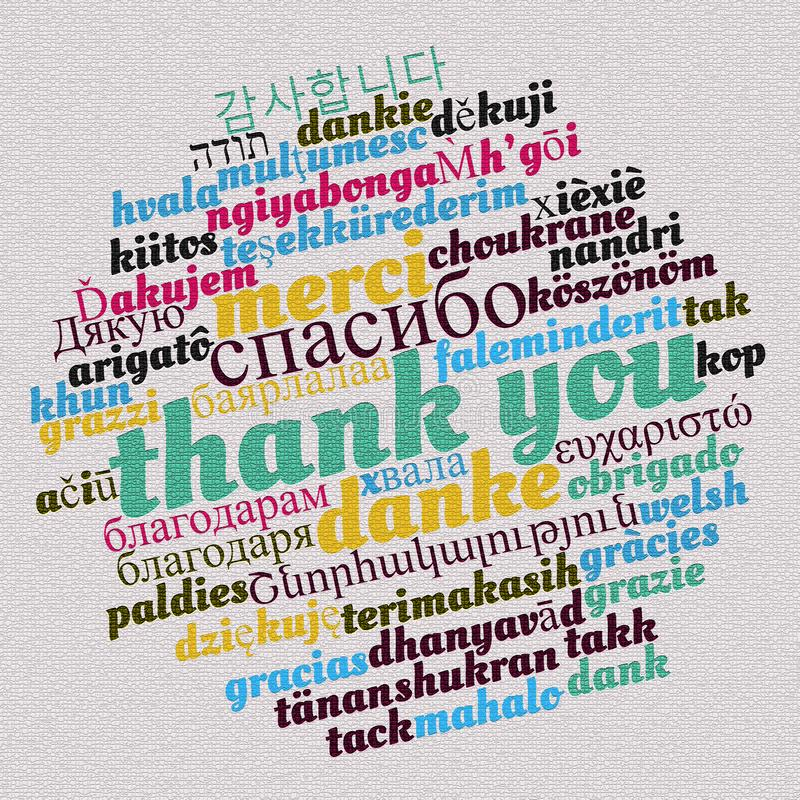 Thank you word cloud concept royalty free illustration