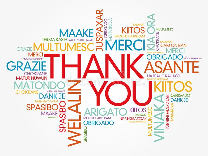 Thank You word cloud in different languages, concept background royalty free stock photo
