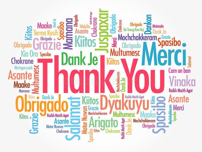 Thank You word cloud in different languages, concept background vector illustration