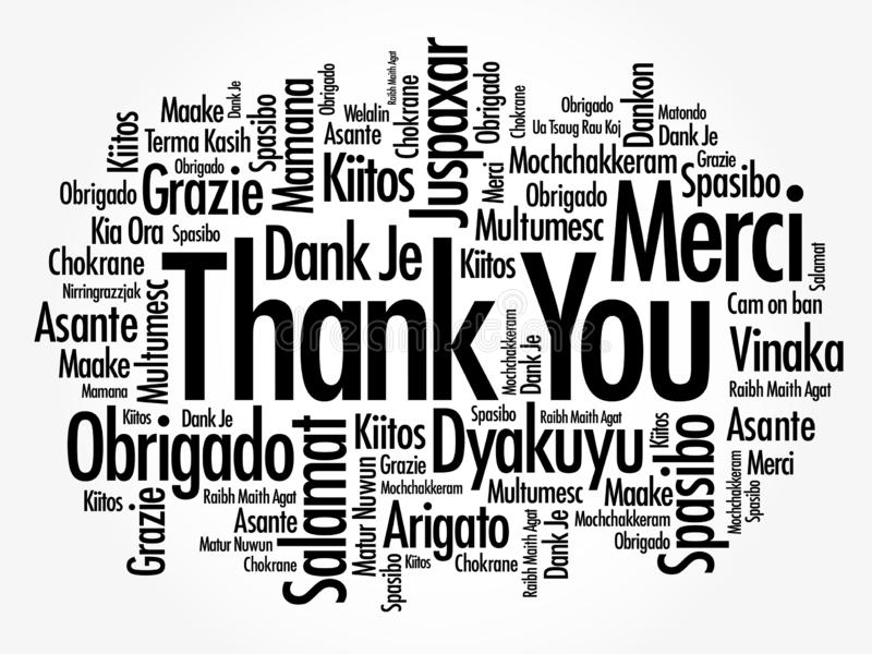 Thank You word cloud in different languages, concept background stock images