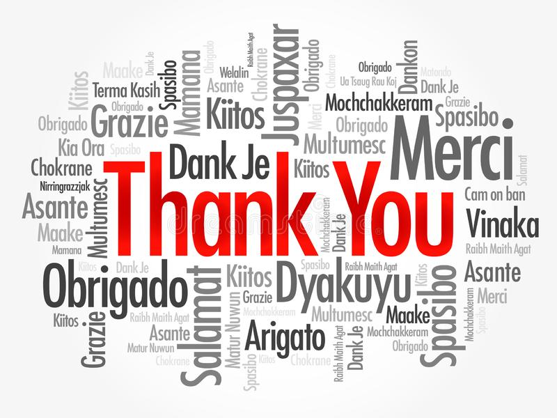 Thank You word cloud in different languages, concept background stock photo